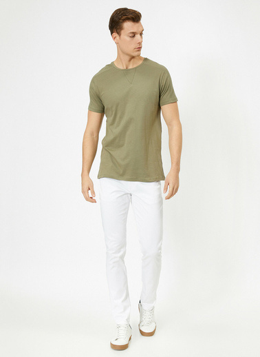 Koton Cep Detaylı Slim Fit Pantolon Beyaz